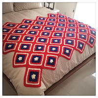 Vintage PATRIOTIC Handmade DIAMOND PATTERN Red White & Blue Crocheted Afghan Throw Quilt