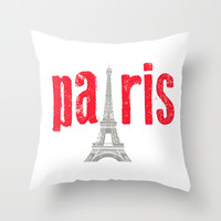 Paris Red Throw Pillow by secretgardenphotography [Nicola]