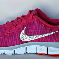 Brand New Nike Free 5.0 v4 in Hot Pink Zebra with Swarovski detail