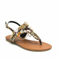 Free Spirit Embellished Reptile Sandals