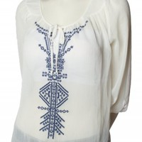 EMBROIDERED TIE TOP