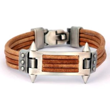 BICO AUSTRALIA JEWELRY - BRACELET (CA29BR) - PHALANX - United We Stand - Brown Leather - MORE SIZES AVAILABLE - Braided Leather Bracelets - CA Bracelets - Bico Bracelets