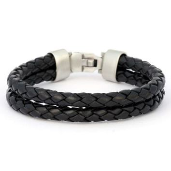 BICO AUSTRALIA JEWELRY - BRACELET (CA27BLK) - WRANGLER - Wrangle Life - Black Leather - MORE SIZES AVAILABLE - Braided Leather Bracelets - CA Bracelets - Bico Bracelets