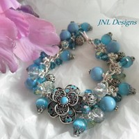 Summertime Blues Handmade Adjustable Bracelet