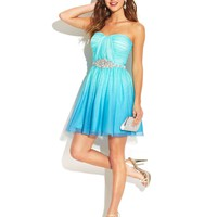 As U Wish Juniors Strapless Rhinestone Ombre Dress