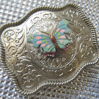 Blue Butterfly Silver Etched Belt Buckle, Vintage 60's Enamel Butterfly Brooch, Butterflies, Rhinestone Butterfly Womens Girls Belt