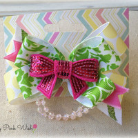 Petite Hair Bow Hair Clip Fun and Sassy Hot Pink Chic Sequin Beads Bow