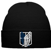 attack on titan beanie hat, survey corps, shingeki no kyojin, survey, corps, emblem, lable, logo, anime, manga - TeeeShop