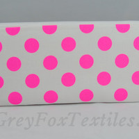 Hot pink neon polka dot zipper pouch, makeup brush holder, pencil case, clutch, cosmetic case