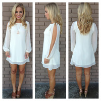 Ivory Long Sleeve Chiffon Dress