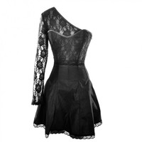 Little black one shoulder corset dress with lace detail