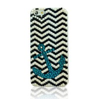 Navy Style Anchor & Wave Rhinestone Handmade Case For iPhone