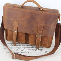 Crazy Horse Leather Briefcase/ Messenger Bag/Shoulder Bag/ Men's Bag/ Crossbody Vintage Bag-vb191