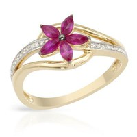 New VIDA 14K Y/G Ring with 0.56 CTW Rubies , Diamond - 			        	Junior Girls and Boys Apparel & Accessories