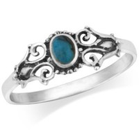 925 Sterling Silver Real Turquoise Victorian Style Filigree Ring