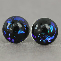 Fake Plugs : Blue, Purple, Aqua DuoChrome Glass Stud Earrings, Sterling Silver Posts, Opal, Flakie, 12mm, Galaxy Earrings