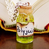 Polyjuice Potion Necklace. Ingredient Card Included. 18 inch Silver Tone Chain.