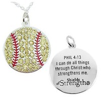 Softball Pendant Inspirational Womens Necklace