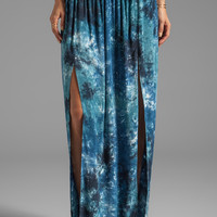 Blu Moon High Waist Double Slit Skirt in Storm