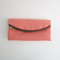 Coral twill large wallet/ fold over clutch, vegan pink and brown womens wallet, made to order