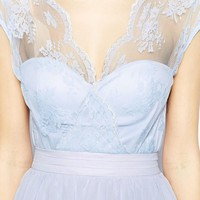 Elise Ryan Skater Dress with Scallop Lace Wrap Front - Pale blue