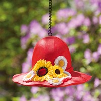 Birdhouse Sunflower Hat Red