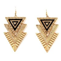 Tiered Textured Triangle Dangle Earrings