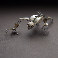 "Mechanical Creature ""Scavenger"" Recycled Watch Parts Organism Justin Gershenson-Gates Faces Stems Gears Arthropod Clockwork Robot Insect"