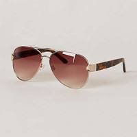 Tortie Aviator Sunglasses by Anthropologie Brown Motif One Size Eyewear