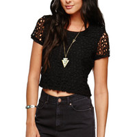 LA Hearts Textured Daisy Cropped Shirt at PacSun.com