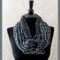 Charcoal Gray Infinity Scarf Soft Warm Cowl Neck Warmer Solid Grey Womens Ladies Teens Handmade
