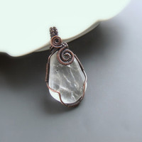 Rock crystal necklace copper rustic pendant statement antiqued necklace natural jewelry