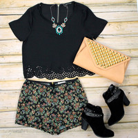 Short Sleeve Laser Cut Crop Top - Black