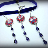 Magic Energy Symbol Purple Velvet Choker w Earrings
