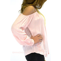 Monet Light Pink Open Shoulder Embroidered Top