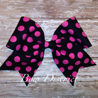 "3"" Black with Pink Polka Dots Cheer Bow"