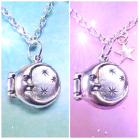 Moon and stars locket necklace