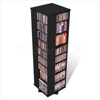Prepac Large 4-Sided CD DVD Spinning Media Storage Tower in Black | CD & DVD Media Storage BMS-1060/2