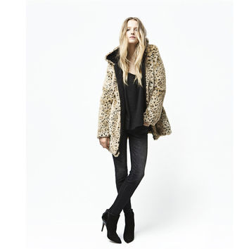 Lady Leopard Thick Winter Warm Faux Fur Hooded Long Coat Jacket Outerwear Casual