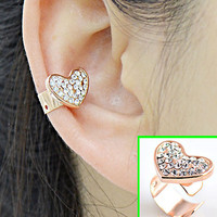 Golden Heart Rhinestone Ear Cuff (Single, No Piercing)