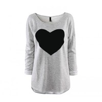 Indressme | Gray Round Neck Heart Print Casual T-shirt style XJF1011001 only $27.00 .