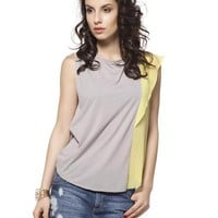 L'Adore Color-Block Blouse Made In Europe - 			        	Junior Girls and Boys Apparel & Accessories