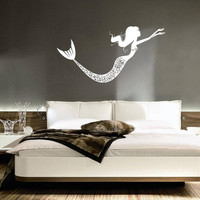 Wall Decal Vinyl Sticker Decals Art Decor Design Water Nymph Mermaid Girl Lady Mural Fish Sea Nursery Bathroom Living Room Bedroom(r178)
