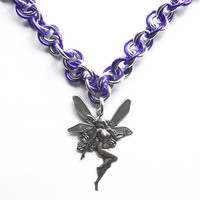 Faerie necklace, Purple and silver chainmaille necklace, Fairy jewelry
