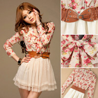 New Korean Chiffon Summer Sweety Womens Floral Long Sleeve Top Tulle Mini Dress