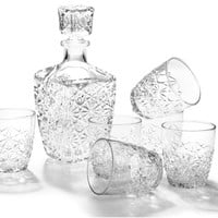 Bormioli Rocco Dedalo 7-Piece Whiskey Decanter Set, Set of 6 Rocks Glasses and One Whiskey Decanter, Gift Boxed