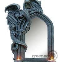 """Green Earth Stores   00211464310 - Dragon Mirror with Double T-Lite Holder 30"""""""