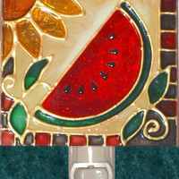 Watermelon Night Light - Red Kitchen Fruit Wall Decor - Stained Glass Watermelon Hand Painted Country Summer Art Decorative Nightlight