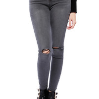 Papaya Clothing Online :: HIGT WAIST CUT SKINNY PANTS