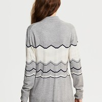 Chevron Stripe Long Open Cardigan